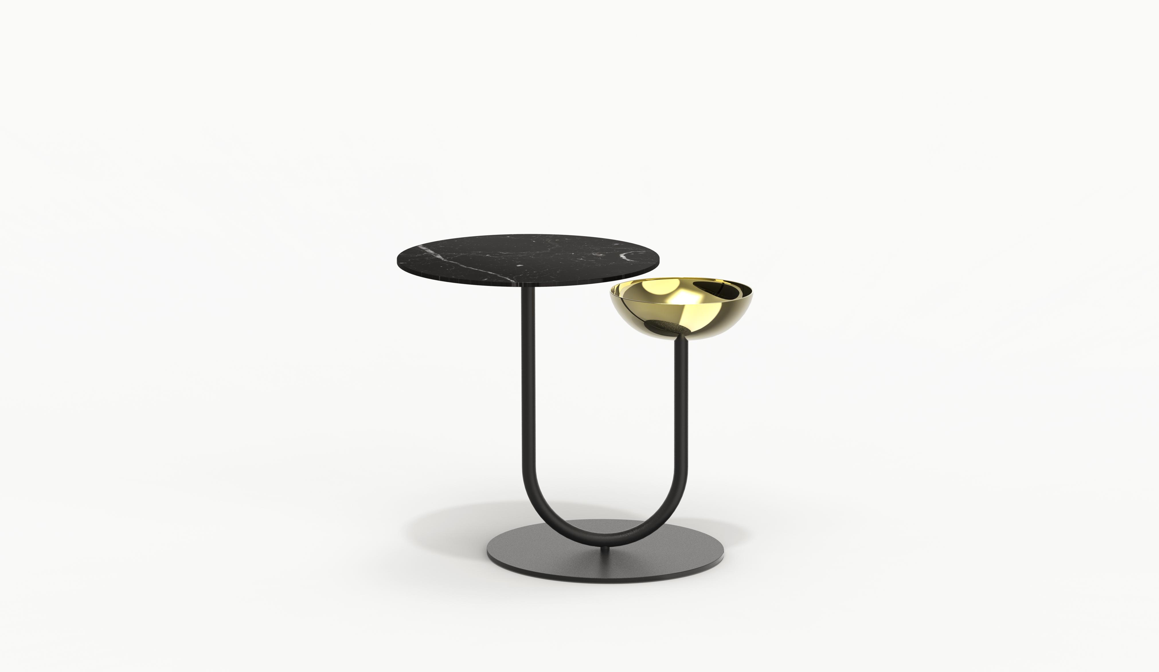 ESCAL Black Side Table – Black steel matt – Black marble – Brass bowl2